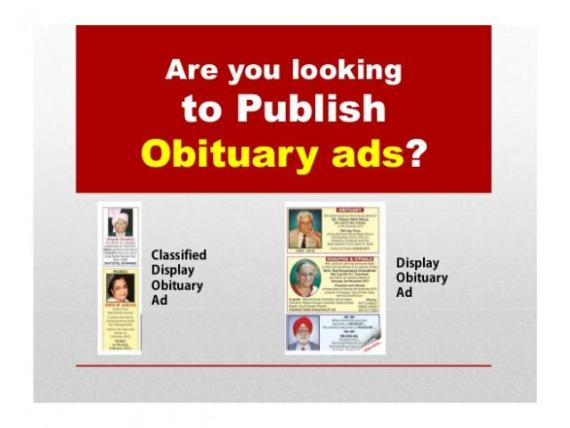 Book Obituary ads