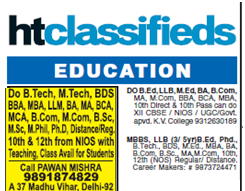 Classifieds ads in Hindustan times